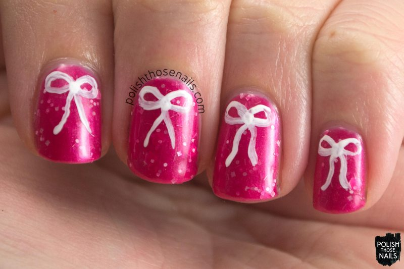 scen, magenta, glitter, parallax polish, indie polish, secience collection, science, bow, nail art