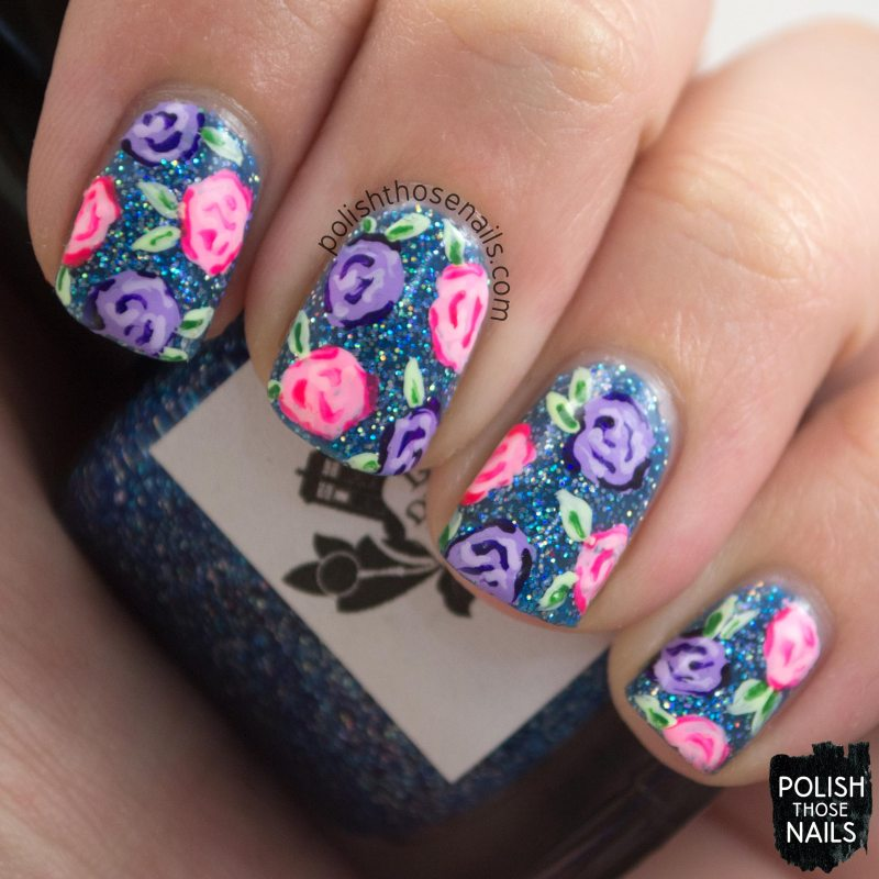 nails, nail art, nail polish, glitter, roses, polish those nails,