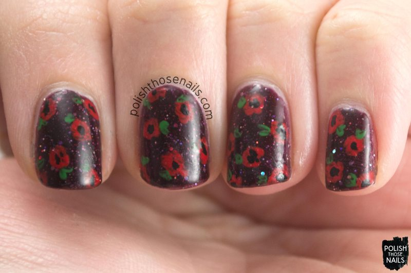 kbshimmer, indie polish, a raisin to live, purple, flowers, polish those nails, nail art