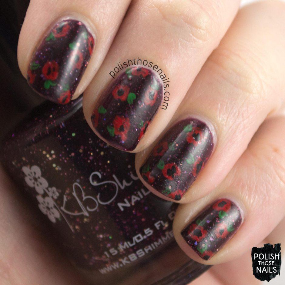 kbshimmer, indie polish, a raisin to live, purple, flowers, polish those nails, nail art