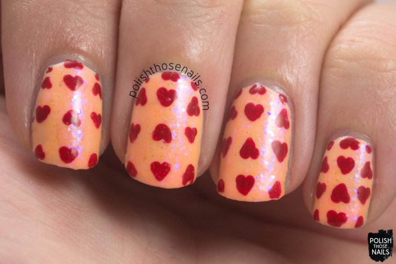 nails, nail art, nail polish, peach, polish those nails, oh mon dieu 3, omd3, hearts,