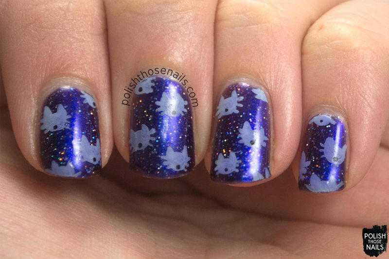 nails, nail art, nail polish, purple, sparkles, cats, kitten, polish those nails, oh mon dieu 3