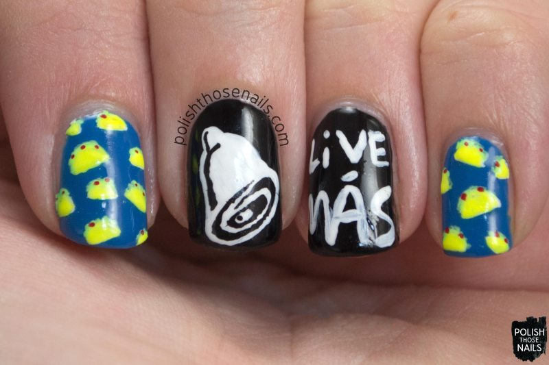 nails, nail art, nail polish, taco bell, live mas, tacos, oh mon dieu 3, polish those nails