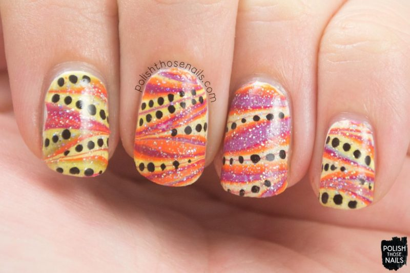 nails, nail art, nail polish, watermarble, polish those nails, polka dots