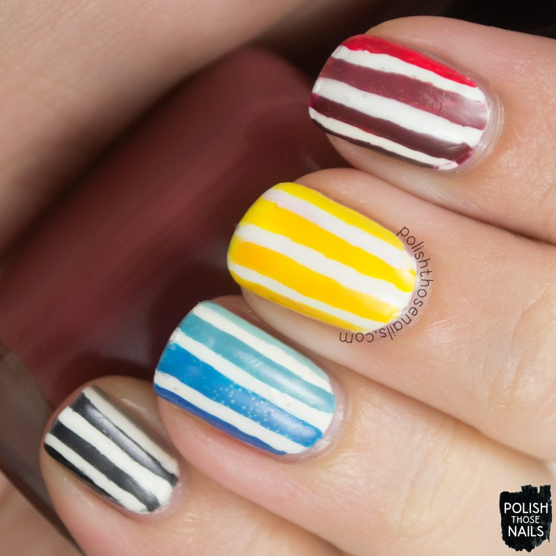 nails, nail art, nail polish, polish those nails, stripes,
