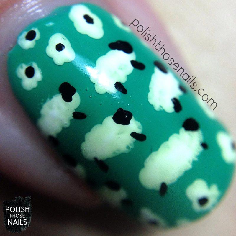 nails, nail art, nail polish, pattern, sheep, polish those nails, macro