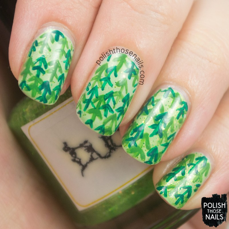 nails, nail art, nail polish, green, trees, pattern, polish those nails