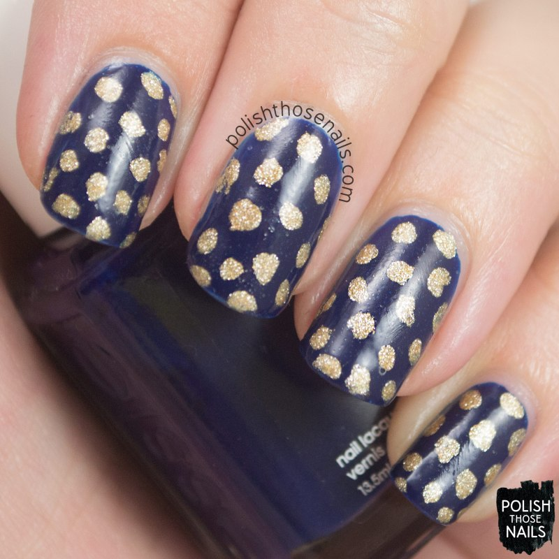 nails, nail art, nail polish, polka dots, polish those nails, navy, gold