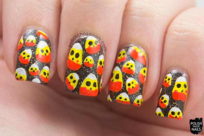 nails, nail art, nail polish, halloween, candy corn, polish those nails, pattern