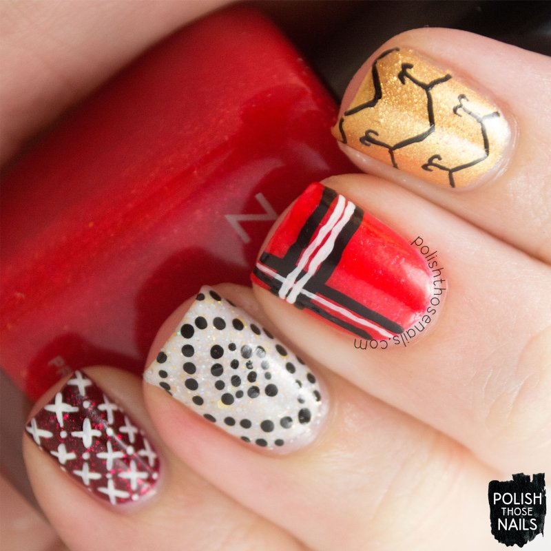 nails, nail art, nail polish, gold, red, polish those nails