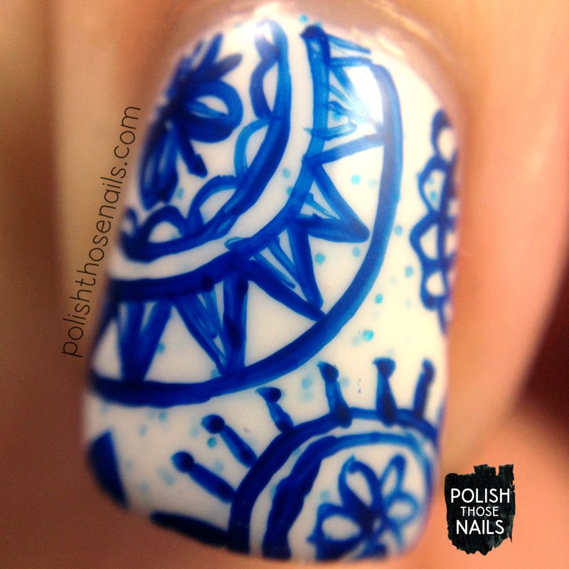 nails, nail art, nail polish, snowflakes, blue, pattern, polish those nails, macro