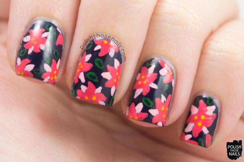 nails, nail polish, nail art, poinsettias, flowers, polish those nails