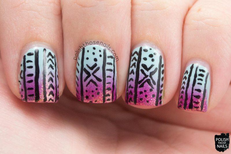 nails, nail art, nail polish, gradient, polish those nails, tribal,