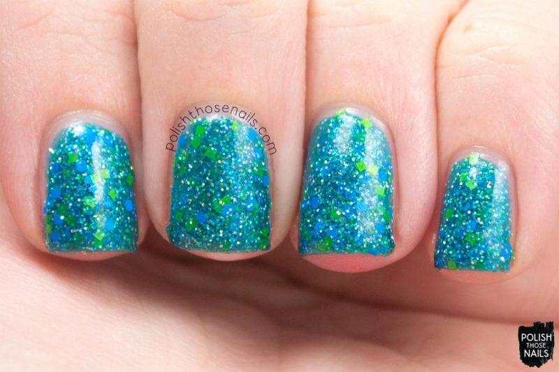 cool waters, glitter, teal, nails, nail polish, indie polish, model city polish, polish those nails, swatch