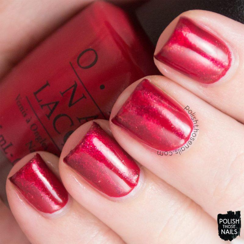 nails, nail art, nail polish, red, reciprocal gradient, opi, polish those nails
