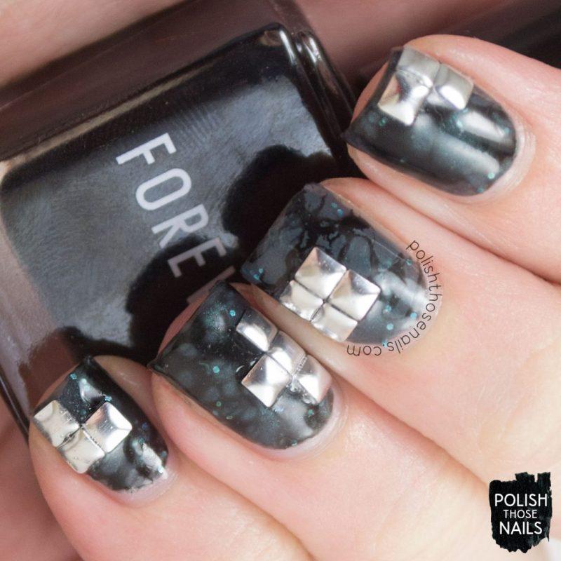 nails, nail art, nail polish, studs, water spotted, polish those nails, grey