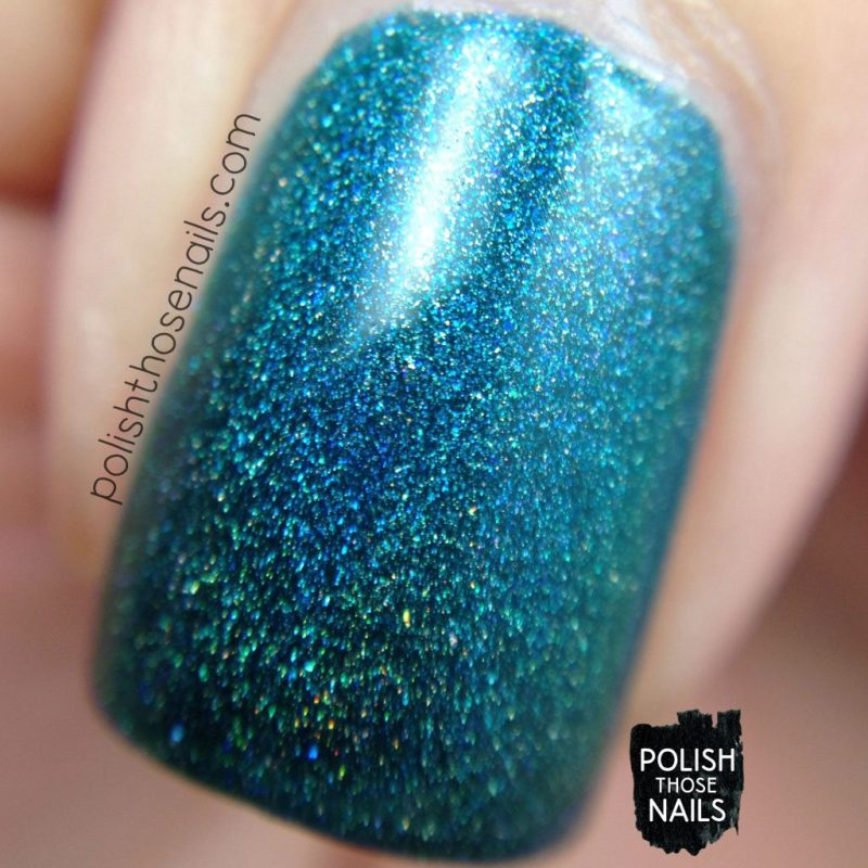 swatch, teal, not-so emerald city, holo, midwest lacquer, polish those nails, indie polish, nails, nail polish, macro
