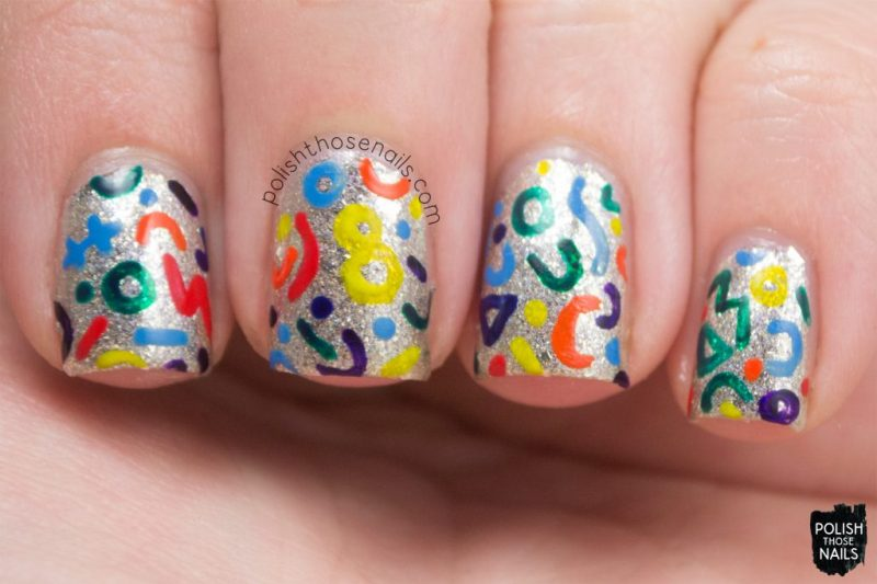 nail art, sandwiches & buttermilk, silver, flakies, nails, nail polish, indie polish, midwest lacquer, polish those nails, pattern