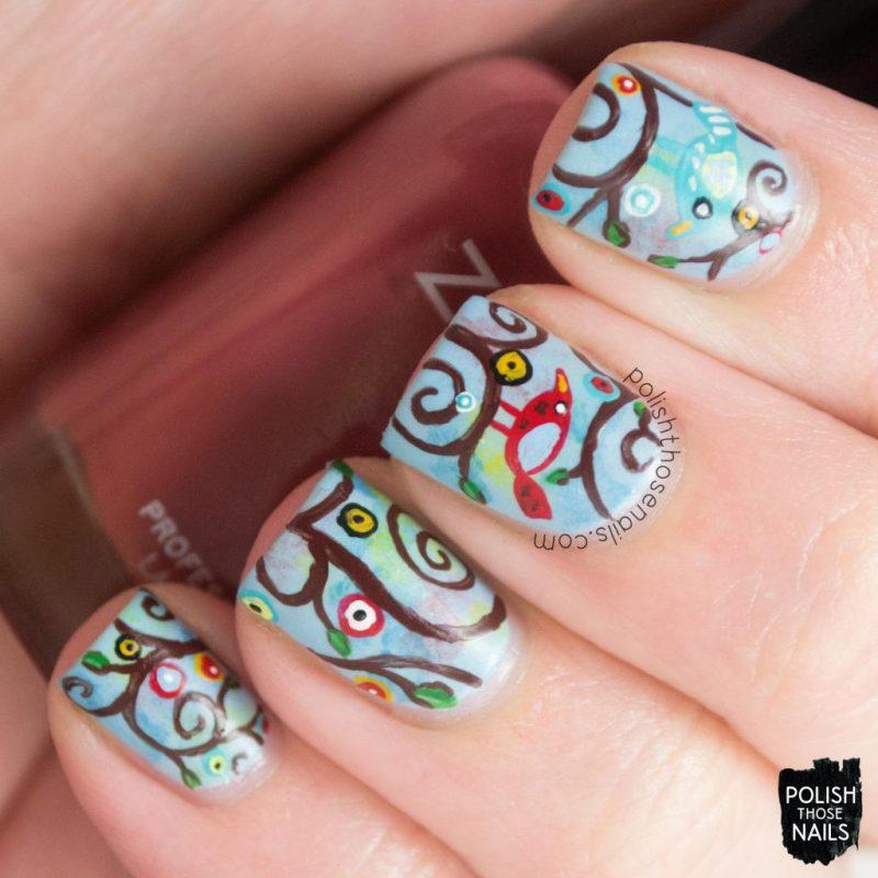 nails, nail art, nail polish, whimsy, birds, polish those nails