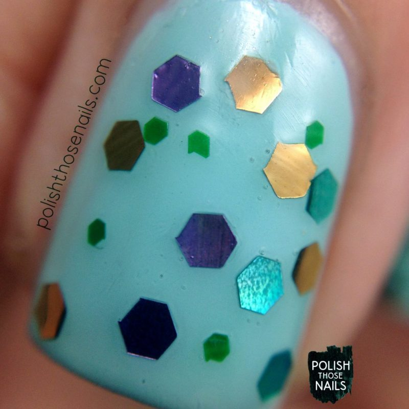swatch, enchanted forest, nails, nail polish, indie polish, love angeline, polish those nails, glitter, macro