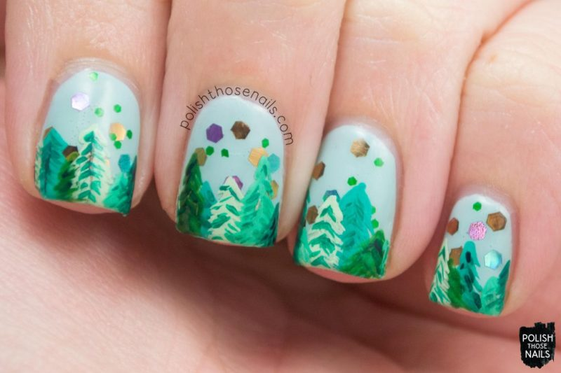 nail art, trees, enchanted forest, nails, nail polish, indie polish, love angeline, polish those nails, glitter