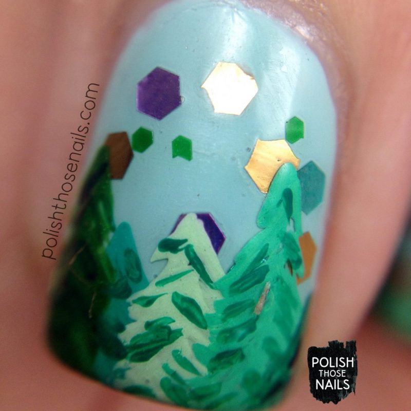 nail art, trees, enchanted forest, nails, nail polish, indie polish, love angeline, polish those nails, glitter, macro