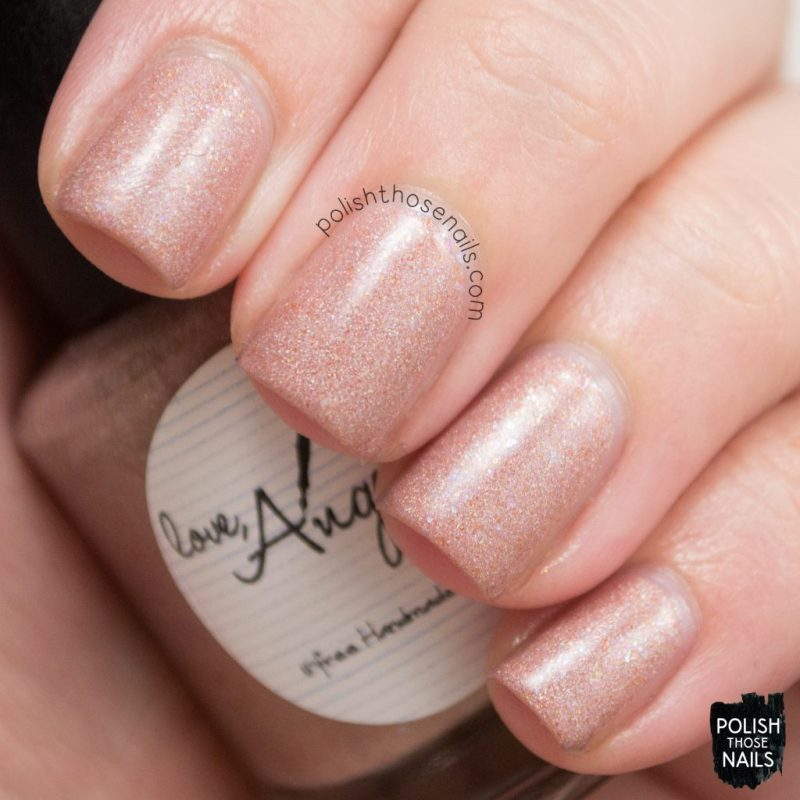 sand castles, neutral, shimmer, swatch, love angeline, polish those nails, indie polish