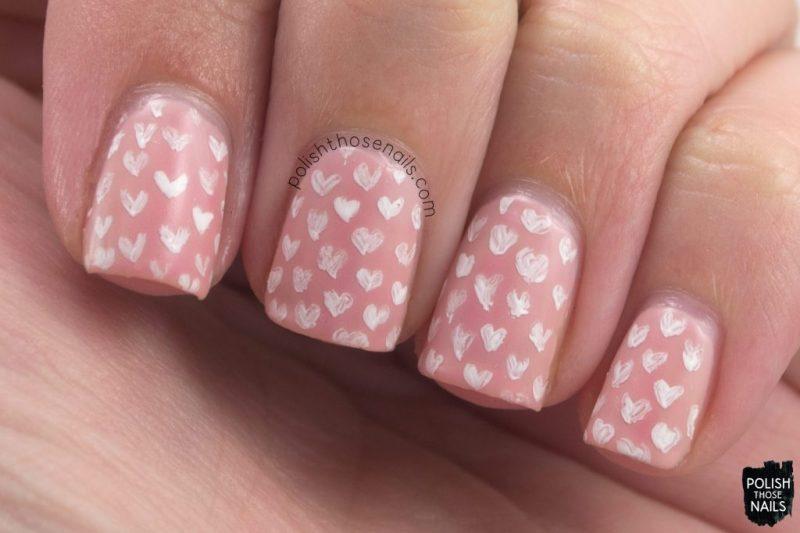 pink, blushing nudie, hearts, pattern, nails, nail polish, nail art, indie polish, thermal, polish those nails, dam nail polish