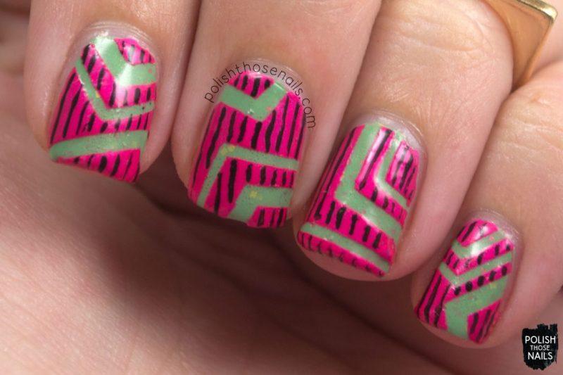nail art, pink, neon, geometric, don't ruffle my feathers, green, glitter crelly, nails, nail polish, love angeline, polish those nails, indie polish