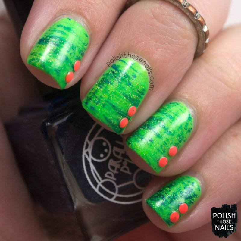 nails, nail art, nail polish, neon, green, dry brush, studs, polish those nails
