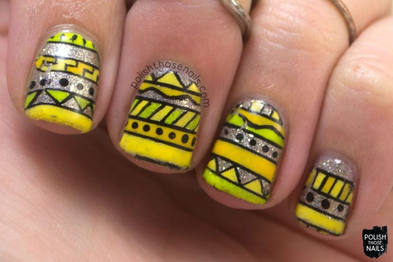 nails, tribal, nail polish, nail art, yellow, silver, polish those nails