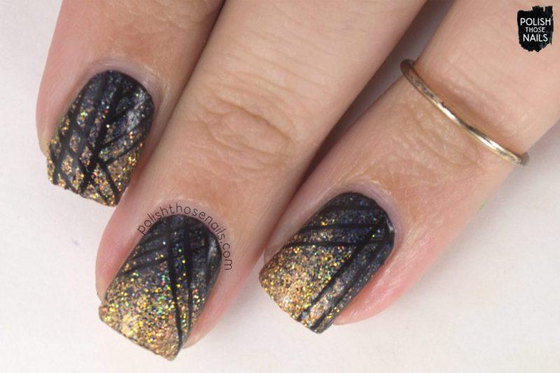 nails, nail art, nail polish, gradient, gold, black, micro glitter, daily hues nail lacquer, polish those nails