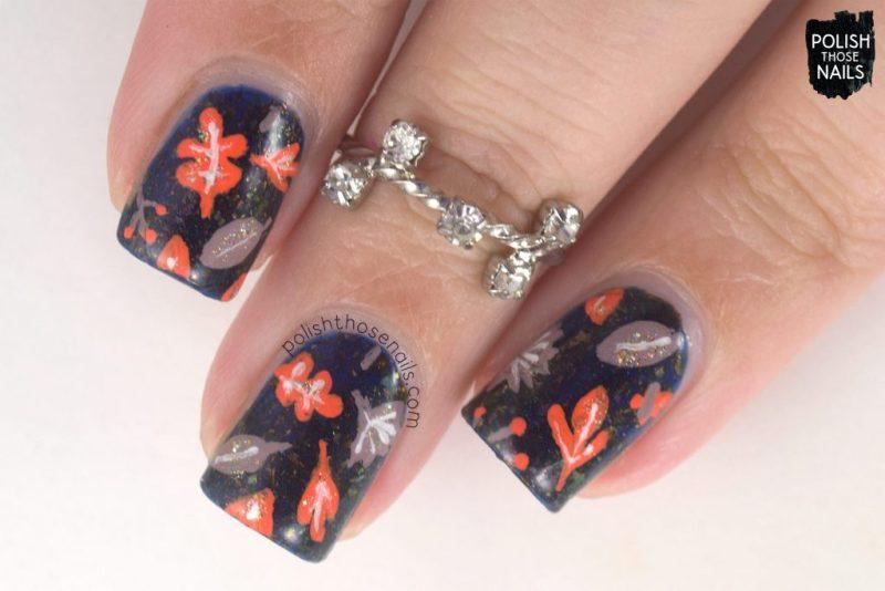 nails, nail polish, nail art, leaves, indie polish, polish those nails, flakies, nail polish color