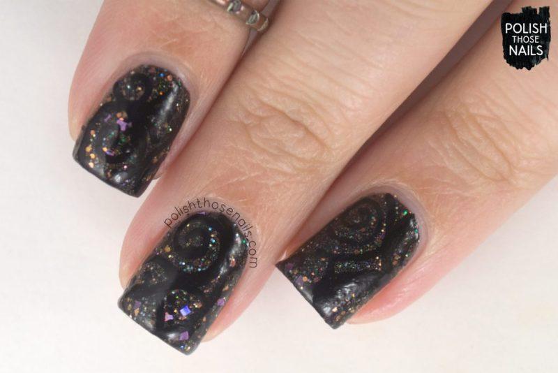 black, nails, nail art, nail polish, glitter, swirls, indie polish, polish those nails