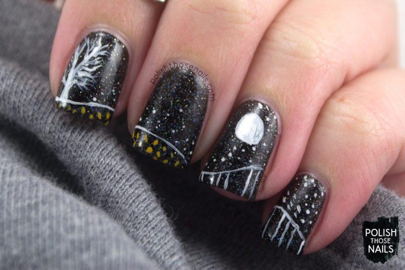 nails, nail art, nail polish, moon, polish those nails, halloween