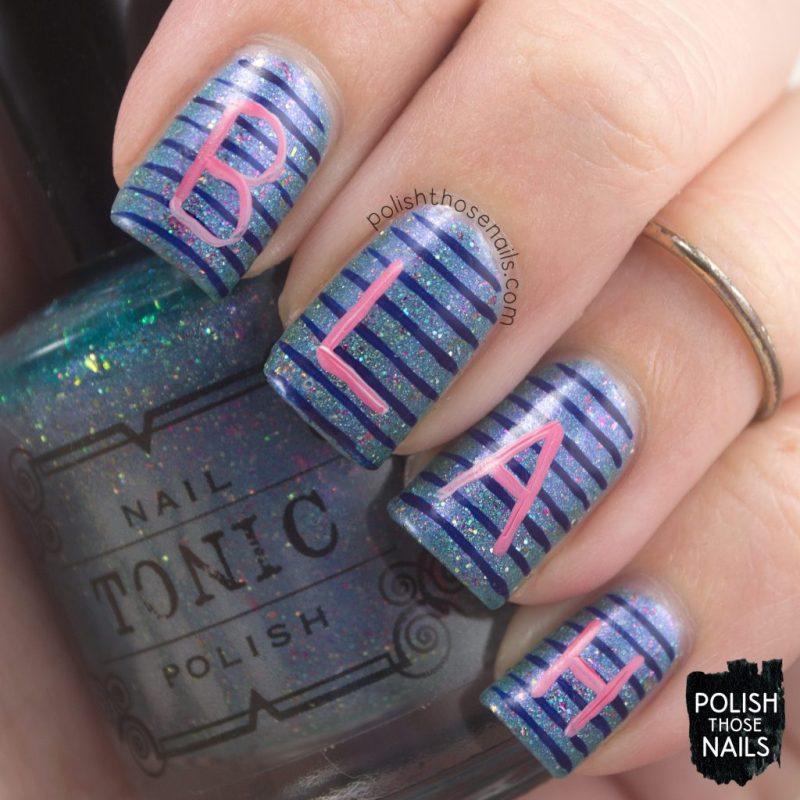 nails, nail art, nail polish, typography, blue, indie polish, polish those nails,