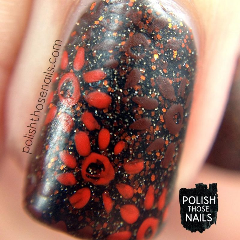 nails, nail art, nail polish, vampy, floral, polish those nails, indie polish, macro
