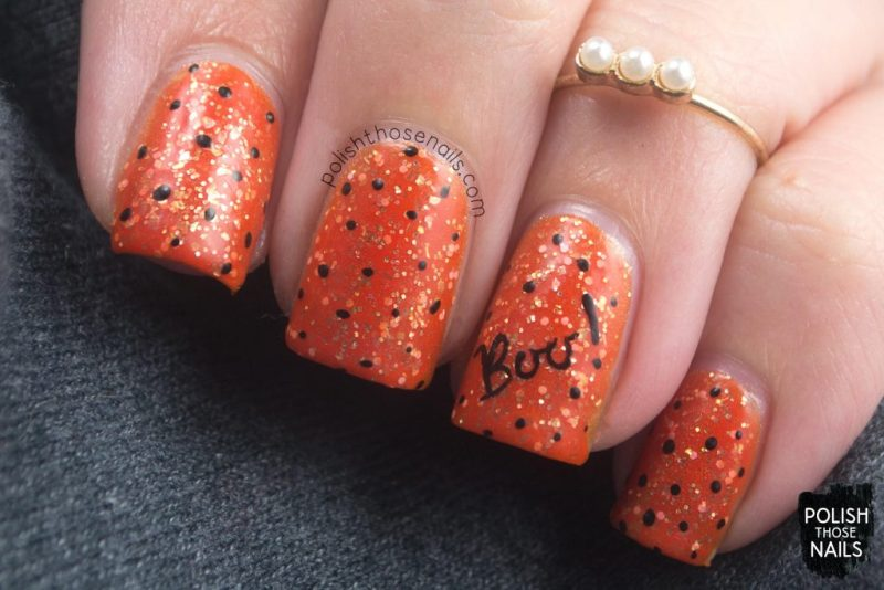 nails, nail art, nail polish, orange, polish those nails, halloween, indie polish, glitter