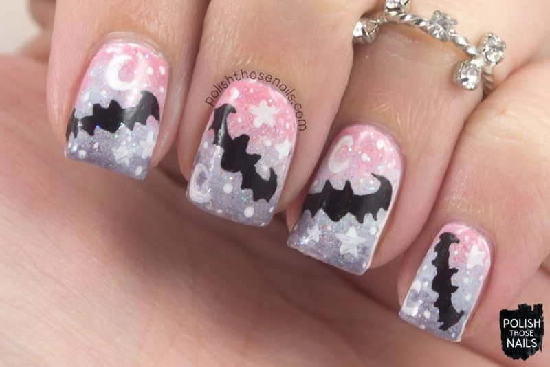 nails, nail art, nail polish, gradient, pastel, bats, polish those nails, halloween, pattern