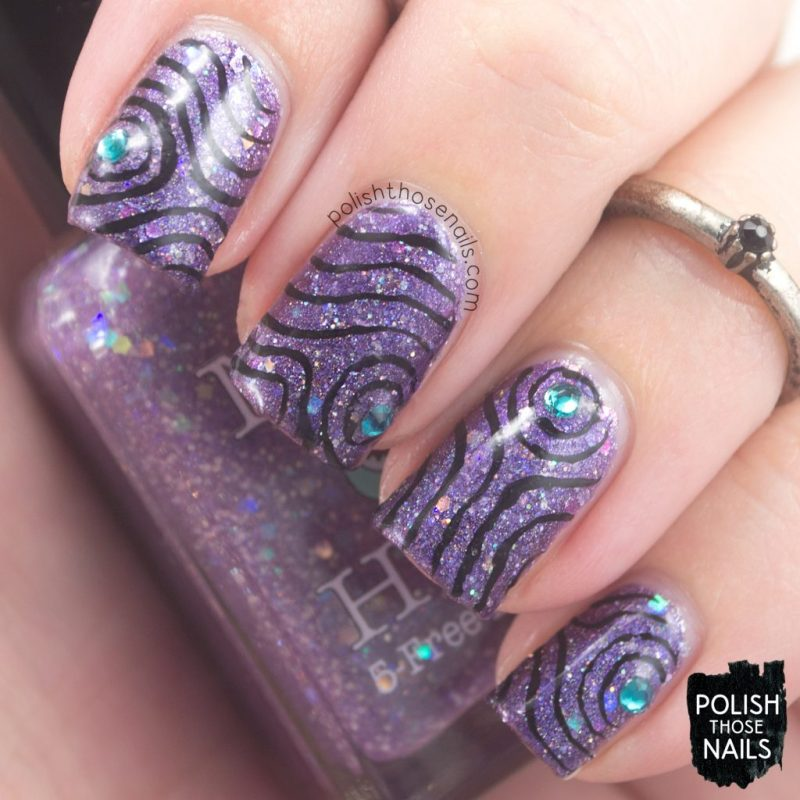 nails, nail art, nail polish, glitter, purple, swirls, polish those nails, indie polish