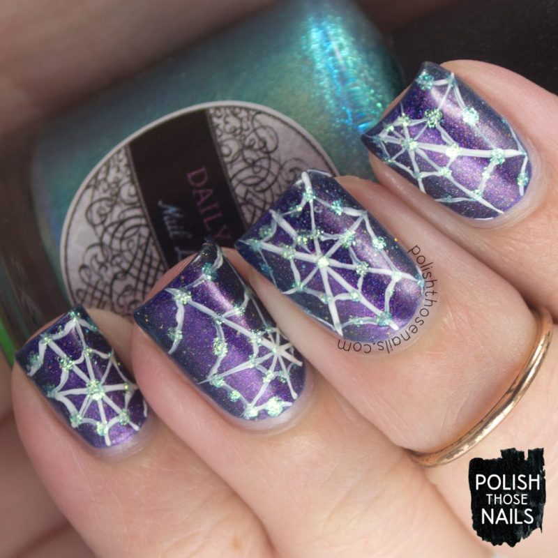 nails, nail art, nail polish, spiderwebs, purple, polish those nails, indie polish