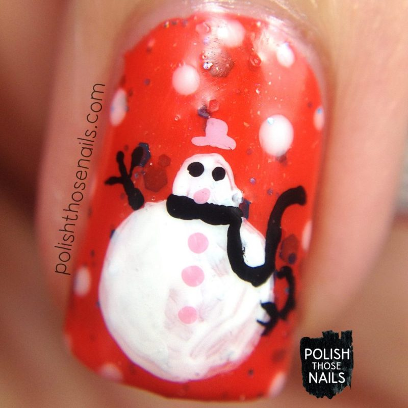 nails, nail art, nail polish, snowmen, winter, polish those nails, indie polish, macro