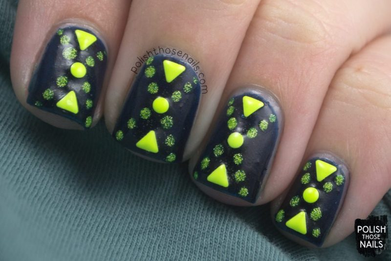 nails, nail art, nail polish, dark blue, yellow, polish those nails, indie polish,