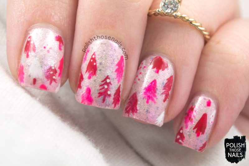 nails, nail art, nail polish, pink, christmas, polish those nails, indie polish, shimmer