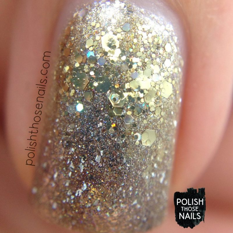 nails, nail art, nail polish, sparkle, indie polish, silver, gold, glitter, polish those nails, macro