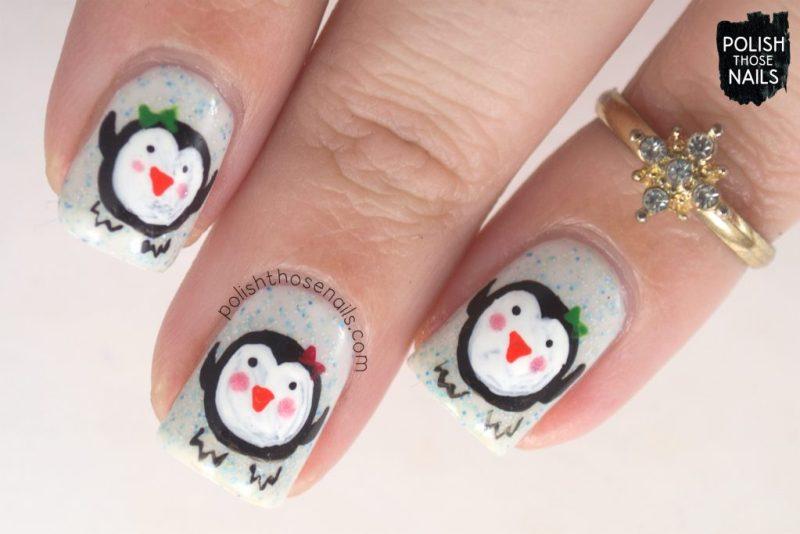 nails, nail art, nail polish, penguins, holiday, polish those nails, indie polish