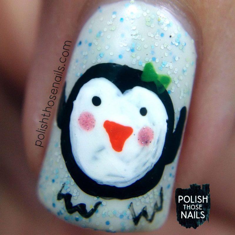 nails, nail art, nail polish, penguins, holiday, polish those nails, indie polish, macro