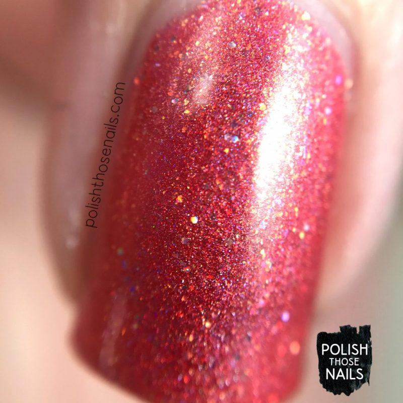 swatch, 06/16, orange, holo, love angeline, indie polish, polish those nails, nails, macro