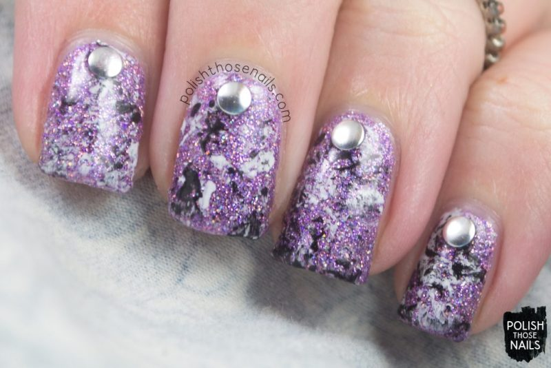 nail art, studs, anniversary bling, purple, micro glitter, love angeline, indie polish, polish those nails, nails