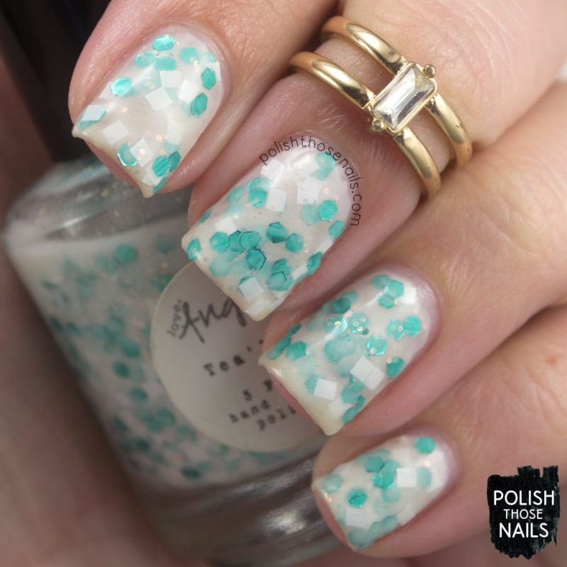 tea'lite, white, glitter crelly, nails, nail polish, indie polish, love angeline, polish those nails, swatch